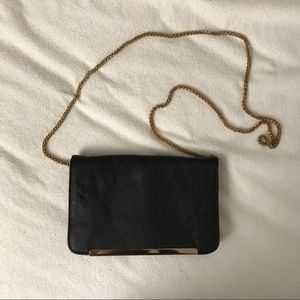 Black Envelope Clutch with Gold Chain